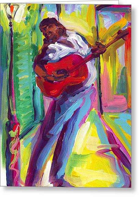 Red Guitar Greeting Card by Saundra Bolen Samuel