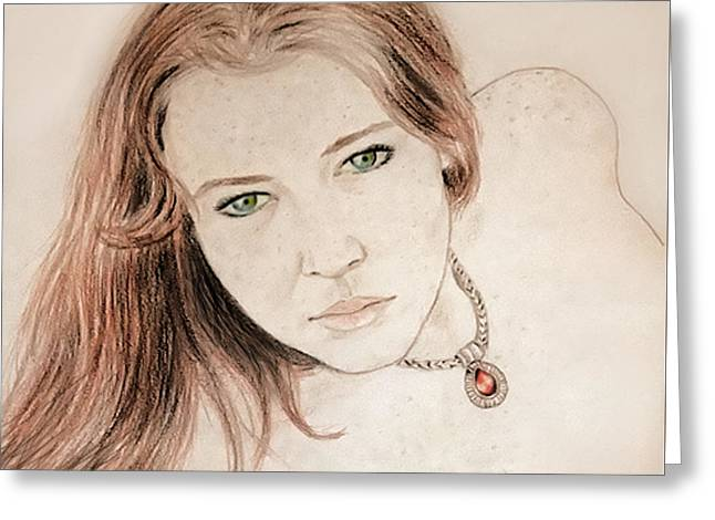 Red Hair And Freckled Beauty Greeting Card by Jim Fitzpatrick