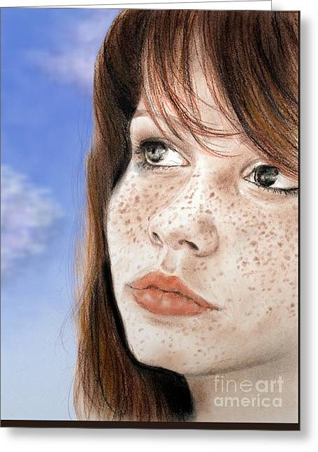 Red Hair And Freckled Beauty Version II Greeting Card by Jim Fitzpatrick