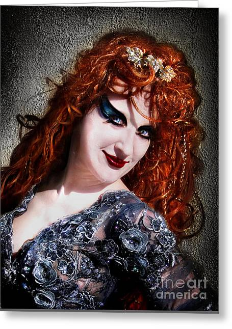 Red Hair, Gothic Mood. Model Sofia Metal Queen Greeting Card by Sofia Metal Queen