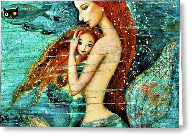 Red Hair Mermaid Mother And Child Greeting Card