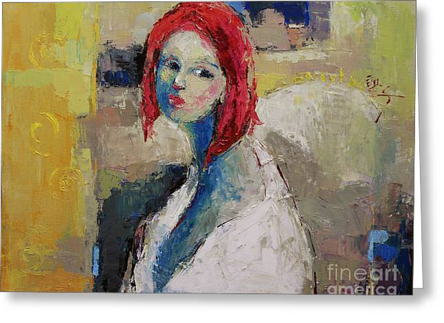 Red Haired Girl Greeting Card by Becky Kim