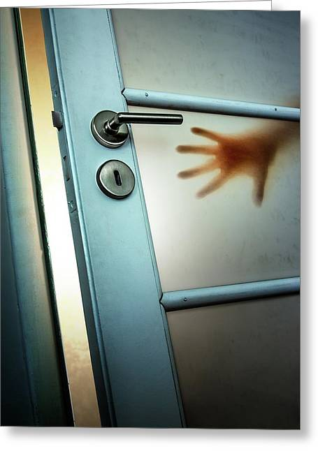 Red Hand On Door Greeting Card by Carlos Caetano