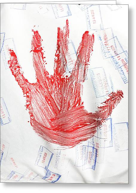 Red Hand Print Greeting Card