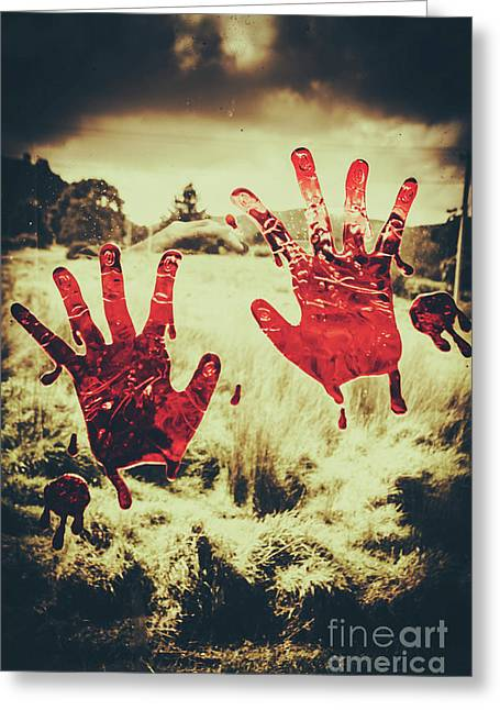 Red Handprints On Glass Of Windows Greeting Card by Jorgo Photography - Wall Art Gallery