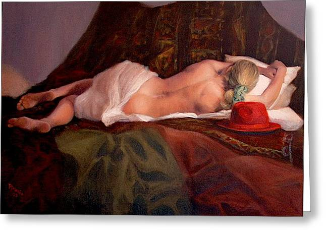 Nude Greeting Cards - Red Hat 3 Greeting Card by Donelli  DiMaria