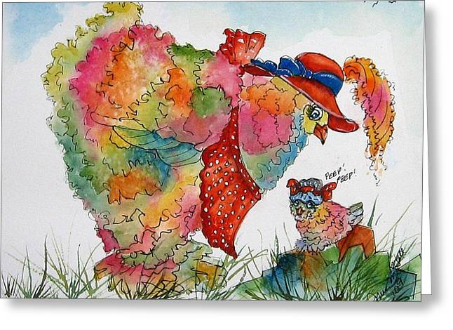 Red Hat Chick Cutie Greeting Card by Gina Hall