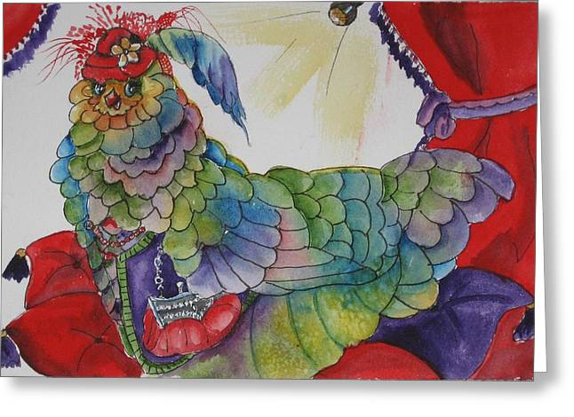 Red Hat Chick With Purse Greeting Card by Gina Hall