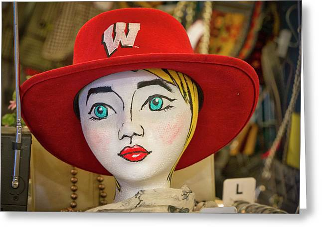 Red Hat On Mannequin Head Greeting Card