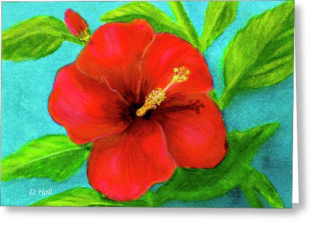 Red Hawaii Hibiscus #238  Greeting Card by Donald k Hall