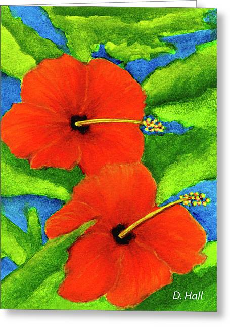 Red Hawaii Hibiscus Flower #267 Greeting Card by Donald k Hall