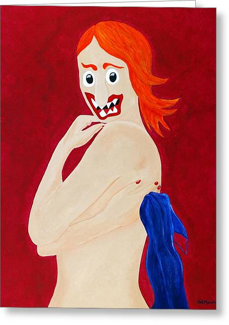 Red Head Nude Greeting Card