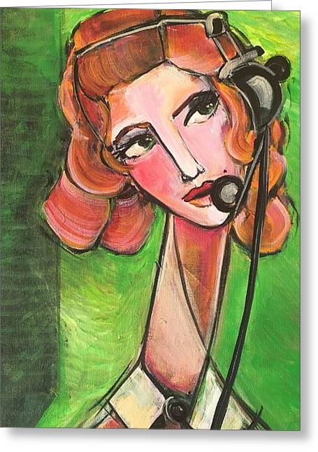 Greeting Card featuring the painting Red Headed Operator by Laurie Maves ART