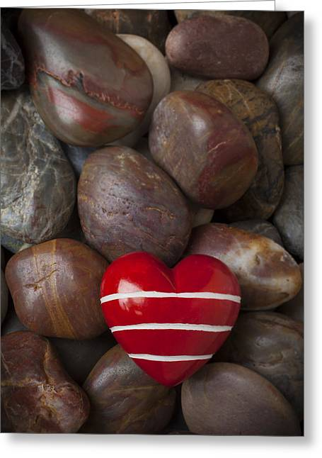 Red Heart Among Stones Greeting Card by Garry Gay