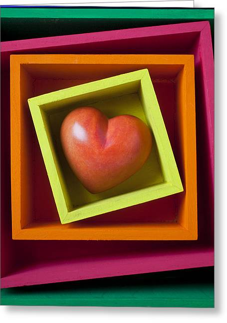 Concept Photographs Greeting Cards - Red Heart In Box Greeting Card by Garry Gay