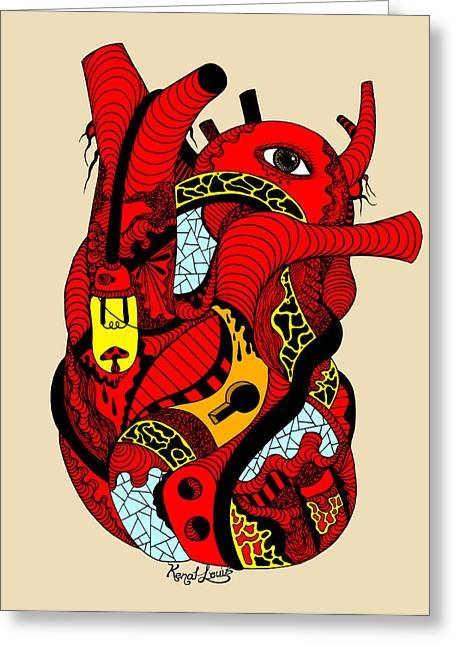 Red Heart Of Light Greeting Card by Kenal Louis