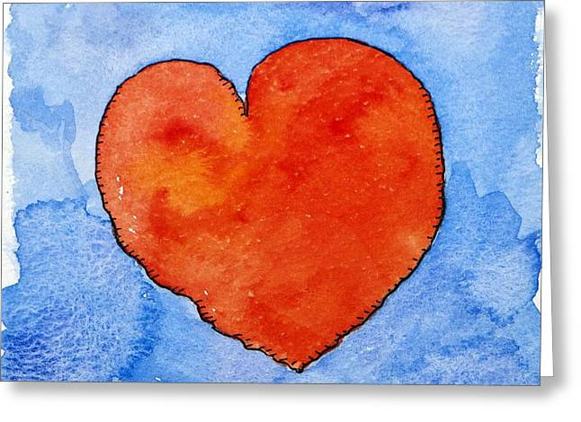 Red Heart On Blue Greeting Card by Jennifer Abbot