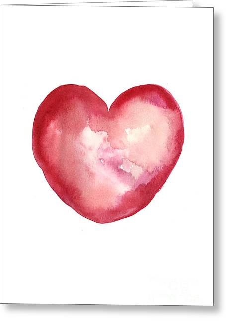 Red Heart Valentine's Day Gift Greeting Card by Joanna Szmerdt