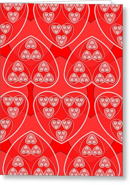 Red Hearts - Fractal Geometry Greeting Card by Soran Shangapour