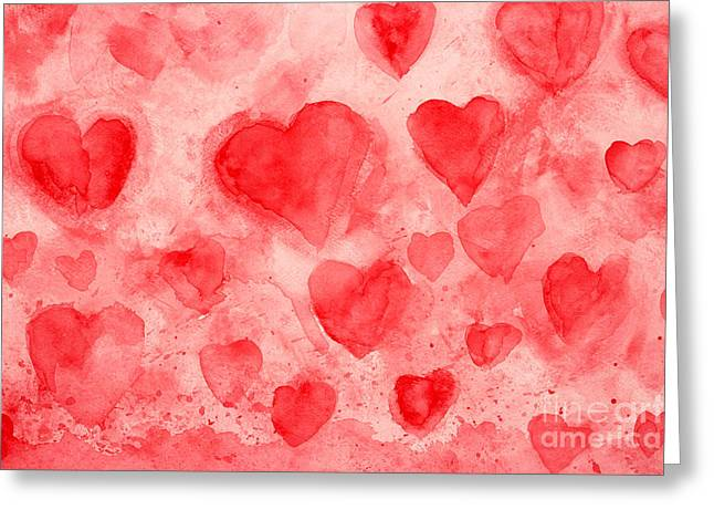 Red Hearts Greeting Card by Stella Levi