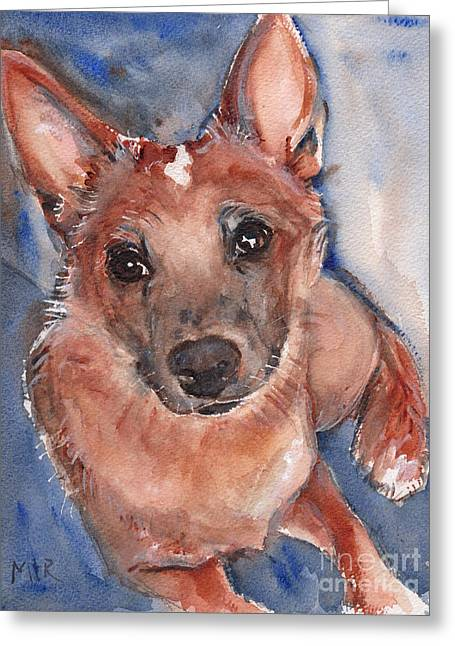 Red Heeler Pup Greeting Card by Maria's Watercolor