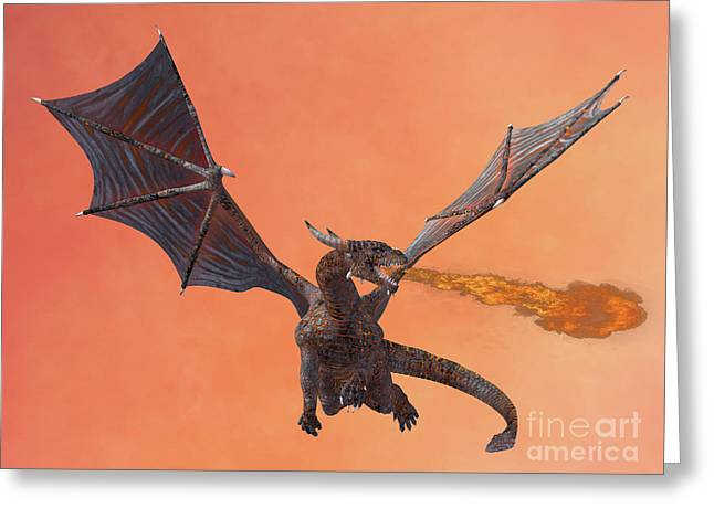 Red Hell Dragon Greeting Card