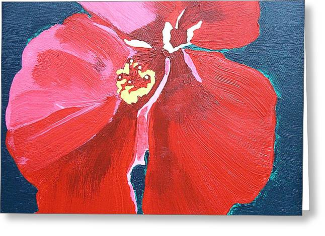 Red Hibiscus On Green Greeting Card by Karen Nicholson
