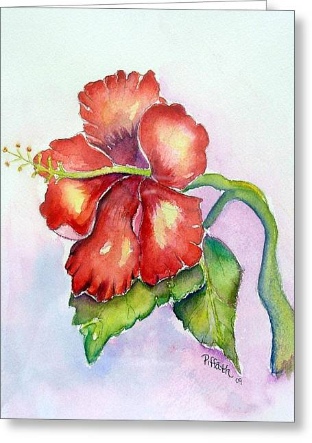 Greeting Card featuring the painting Red Hibiscus by Patricia Piffath