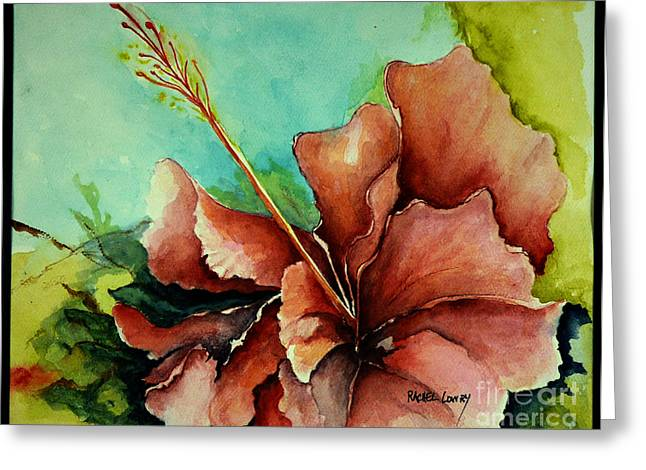 Greeting Card featuring the painting Red Hibiscus by Rachel Lowry