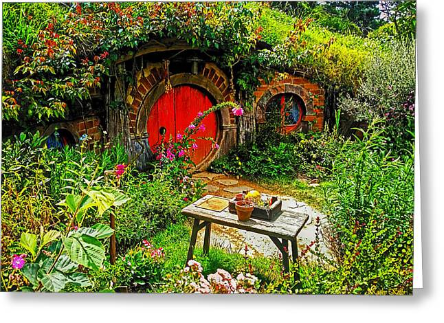 Red Hobbit Door Greeting Card