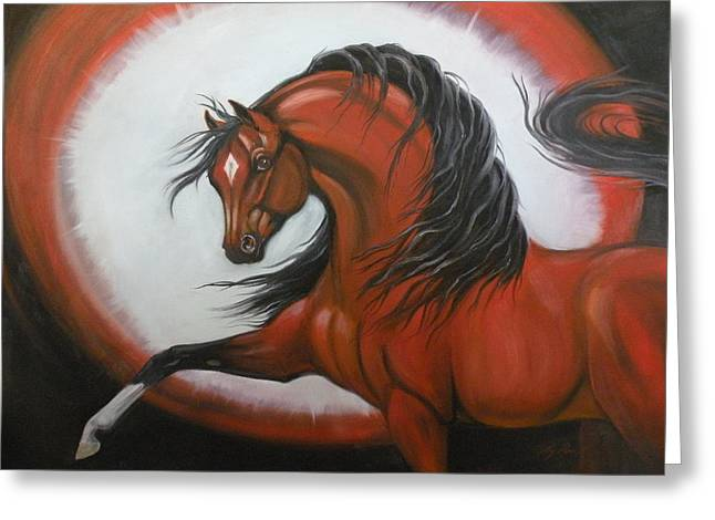 Red Horse Fantasy Greeting Card by Liz Rose