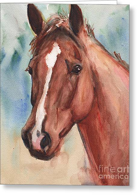 Red Horse In Watercolor Greeting Card