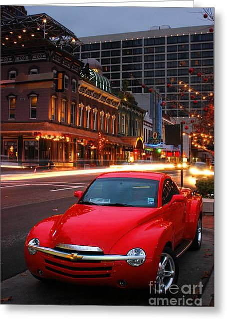 Red Hot Chevrolet Ssr In Downtown Of Dallas Fort Worth Greeting Card by Vu Nguyen