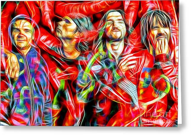 Red Hot Chili Peppers In Color II  Greeting Card by Daniel Janda