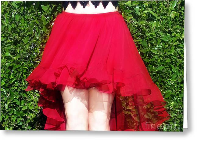 Red Hot Dance Skirt. Ameynra Fashion Greeting Card by Sofia Metal Queen