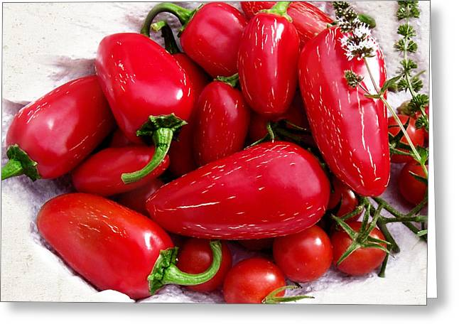 Greeting Card featuring the photograph Red Hot Jalapeno Peppers by Shawna Rowe