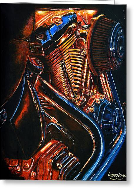 Red Hot Metal Greeting Card by Fernando Lopez Lago