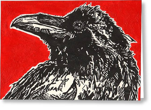 Recently Sold -  - Lino Greeting Cards - Red Hot Raven Greeting Card by Julia Forsyth