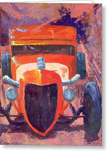 Red Hot Rod Sedan Greeting Card