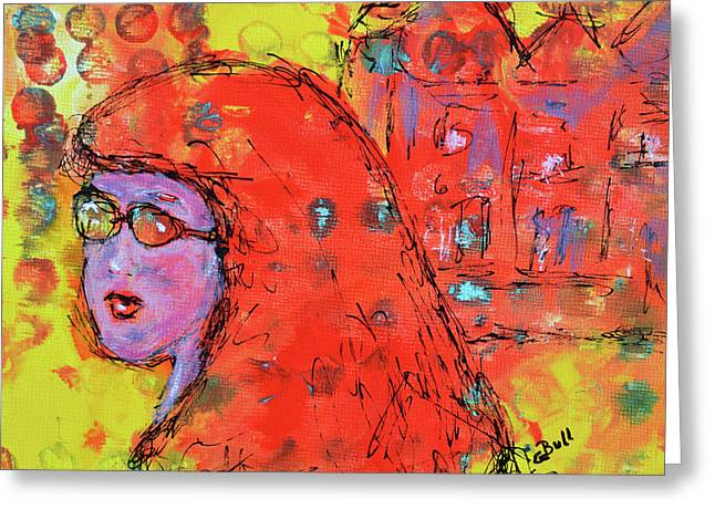 Greeting Card featuring the painting Red Hot Summer Girl by Claire Bull