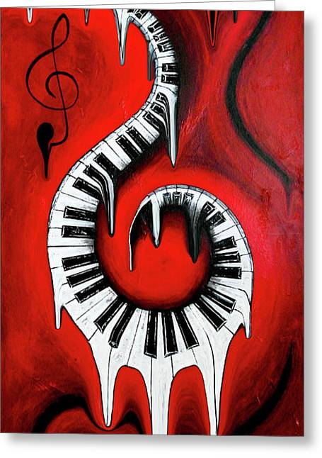 Red Hot - Swirling Piano Keys - Music In Motion Greeting Card