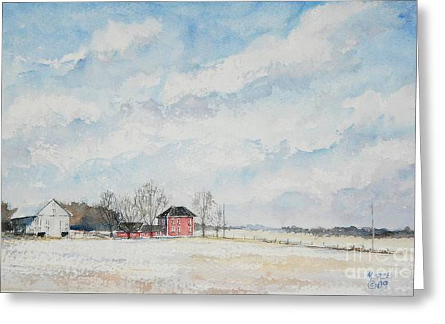 Rural Indiana Paintings Greeting Cards - Red House Gray Barn Greeting Card by Mike Yazel