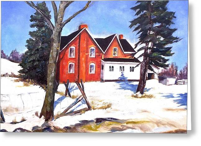 Red House In Rural Ontario Greeting Card