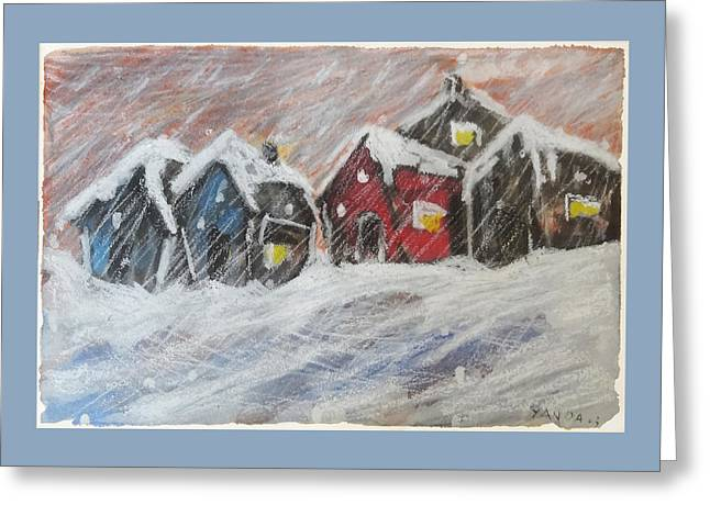 Red House In The Snow Greeting Card