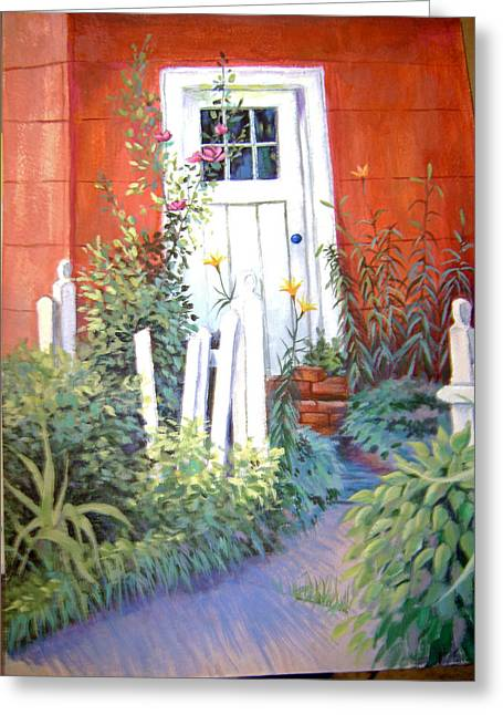 Red House Greeting Card by Judy Keefer