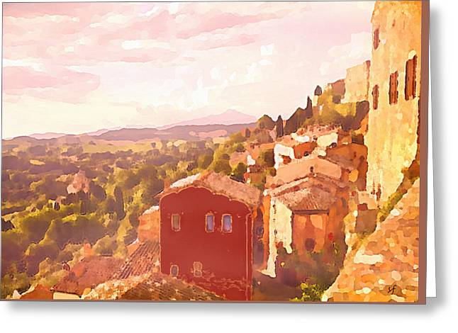 Red House On A Hill Greeting Card