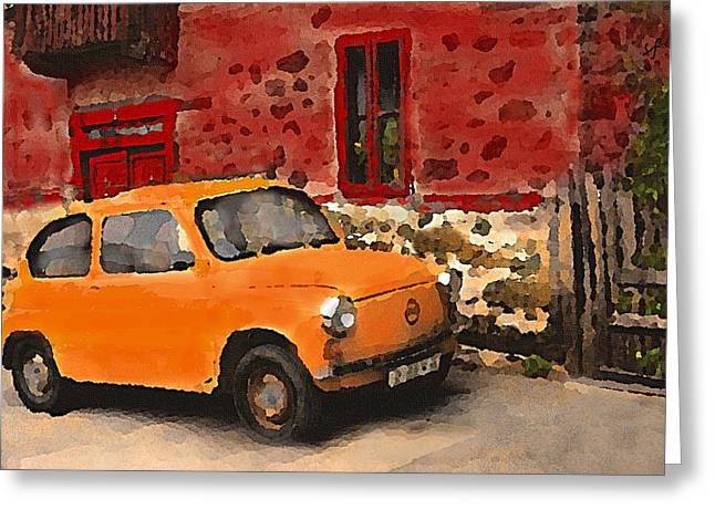 Red House With Orange Car Greeting Card