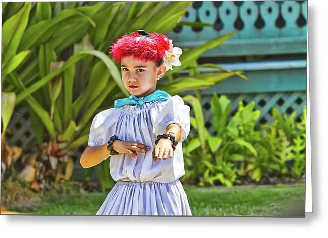 Red Hula Girld Greeting Card by Sheila Latta