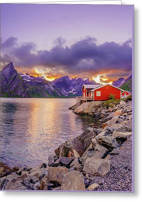 Red Hut In A Midnight Sun Greeting Card by Dmytro Korol