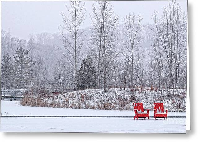 Greeting Card featuring the photograph Red In Snow by Charline Xia